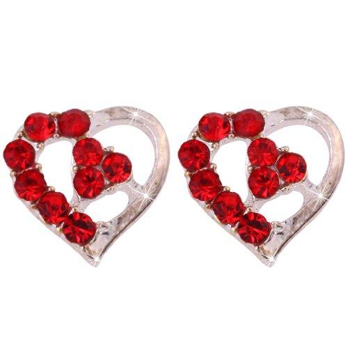 tty Red Loving Heart Shape Mini Stud Earrings (Loving Heart Earrings)