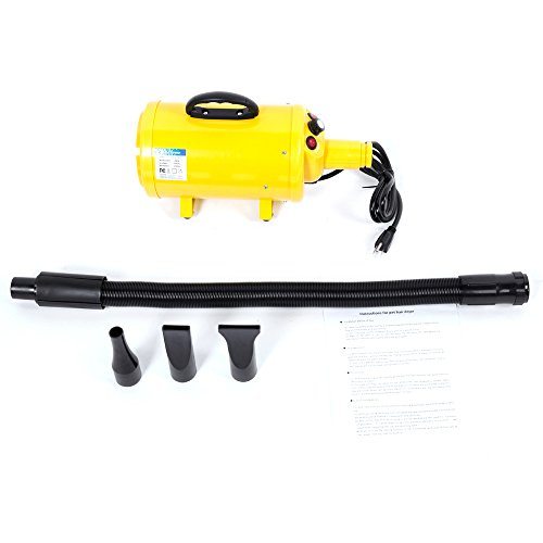 (Festnight Portable Dog Cat Pet Grooming Blow Hair Dryer Adjustable Speed and Built-in Heater Hair Force Quick Home Bathing Draw Hairdryer with 3 Different Nozzles 120V 2900W Yellow)