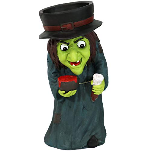 Sunnydaze Halloween Witch Large Statue with Built-in Candy Bowl Dish, Gwendolyn, 28-Inch Tall