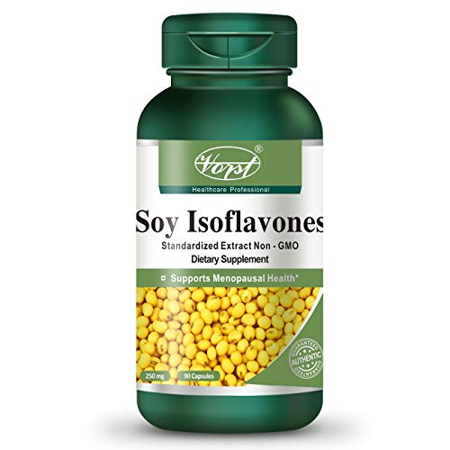 Vorst Soy Isoflavones Non-GMO 250mg 90 Capsules Menopause Relief Supplement Natural Hormone Balance Hot Flashes and Night Sweats Hormonal Imbalance Perfect for a Good Diet