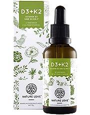 NATURE LOVE® Vitamin D3 + K2 Tropfen 50ml. Premium: Gnosis® VitaMK7 99,7% All Trans + hoch bioverfügbares D3 (1000 IE). Laborgeprüft, flüssig, hochdosiert, hergestellt in Deutschland
