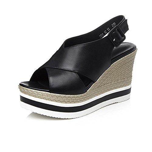 KJJDE Zapatos con Plataforma Mujeres LZ-QYD-551 Velcro Creativo Sandalias Mujer Zapatilla Chanclas de Moda Confort Peep Toe Tacón Zapatos Para Caminar Black