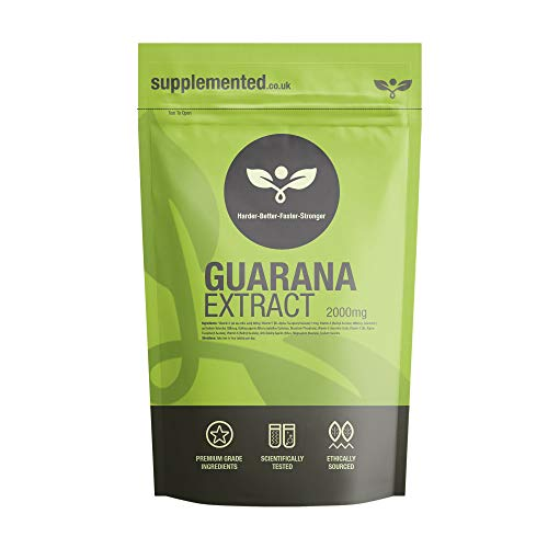 Guarana Extract 2000mg 360 Tablets – Energy Supplement & Fat Burner Capsules UK Made. Pharmaceutical Grade