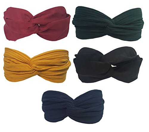 BeautyN 5 Pack Headbands Headwrap Hair Band Hair Care Elastics Hair Accessories for Women Girl (F01) ()