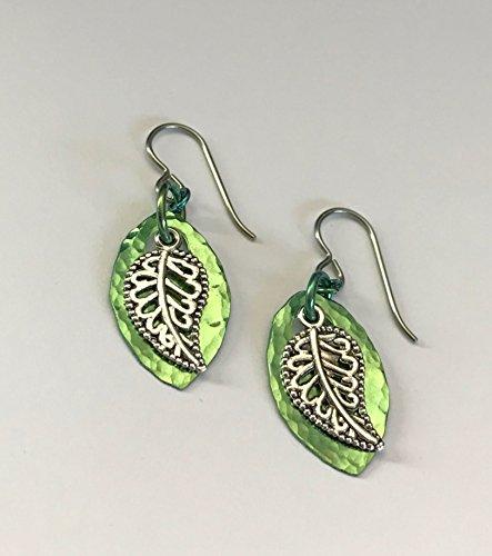 Handmade Niobium Green Leaf Earrings