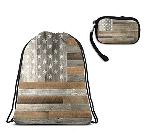 Girls & Boys School Sport Drawstring Bag, Wood American Flag String Bag, Water Resistant, Home Travel Storage Use + All In One Purse Clutch Bag, Make Up Bag