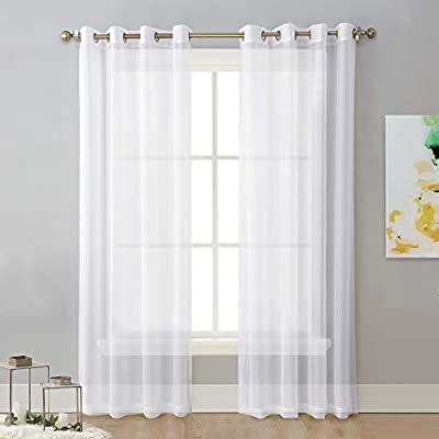"""NICETOWN Sheer Window Curtain Panels - Solid White Panels / Drapes with Grommet Top (2-Pack, 54 Wide x 96 inch Long, White) - READY MADE: Package includes 2 Panels sheer curtains, each paenl measures 54""""wide with 8 silver grommets( inner diameter is 1.6 inch). As a general rule, for proper fullness panels should measure 2-3 times the width of your window/opening. MULTIFUNCTION: Voile sheer curtain enables you to appreciate the beautiful scene outside the window freely while sustaining s bit of privacy. Besides, voile drapes can be hung separately or paired with NICETOWN blackout curtains. AMAZING MATERIAL: Due to the thin, unlined fabric and casual setting, light can get through soft airy sheer voile curtain and lighten up the room. They will add a touch of luxury and finesse to your home! - living-room-soft-furnishings, living-room, draperies-curtains-shades - 41tChnkdMIL. SS400  -"""