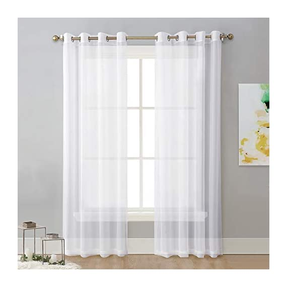 "NICETOWN Sheer Window Curtain Panels - Solid White Panels / Drapes with Grommet Top (2-Pack, 54 Wide x 96 inch Long, White) - READY MADE: Package includes 2 Panels sheer curtains, each paenl measures 54""wide with 8 silver grommets( inner diameter is 1.6 inch). As a general rule, for proper fullness panels should measure 2-3 times the width of your window/opening. MULTIFUNCTION: Voile sheer curtain enables you to appreciate the beautiful scene outside the window freely while sustaining s bit of privacy. Besides, voile drapes can be hung separately or paired with NICETOWN blackout curtains. AMAZING MATERIAL: Due to the thin, unlined fabric and casual setting, light can get through soft airy sheer voile curtain and lighten up the room. They will add a touch of luxury and finesse to your home! - living-room-soft-furnishings, living-room, draperies-curtains-shades - 41tChnkdMIL. SS570  -"