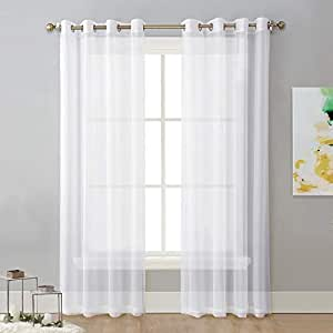 NICETOWN White W152 x L241 Centimeter, Extra Long Voile Sheer Curtains Window Treatment for Patio Door, Hall, Guest Room Draperies, 1 Pair