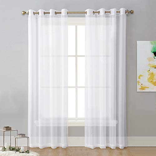 NICETOWN Sheer Curtain Panels Bedroom - Home Decoration Solid Voile Panels with Ring Top (2-Pack, 54 Wide x 84 inches Long, White) (Inches Curtains 108 Sheer Long)