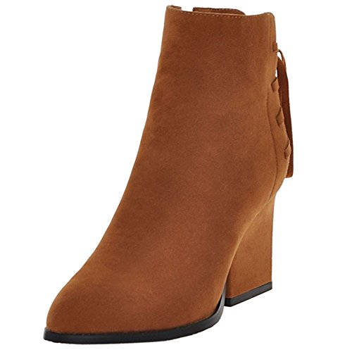 Women Back High Brown Vintage with Boots KemeKiss Strap Zipper Heel Block axvqI88Swd