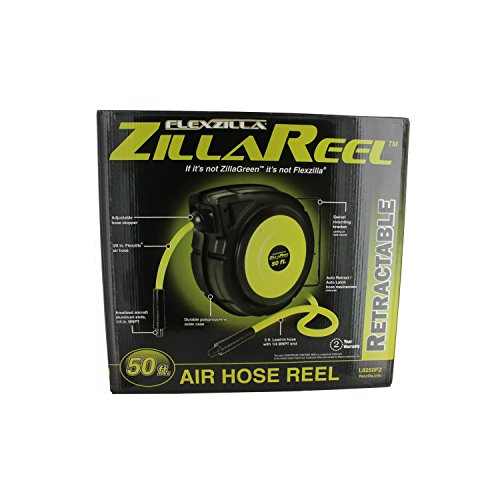 092329182505 - Flexzilla Retractable Enclosed Plastic Air Hose Reel, 3/8 in. x 50 ft., Heavy Duty, Lightweight, Hybrid, ZillaGreen - L8250FZ carousel main 1