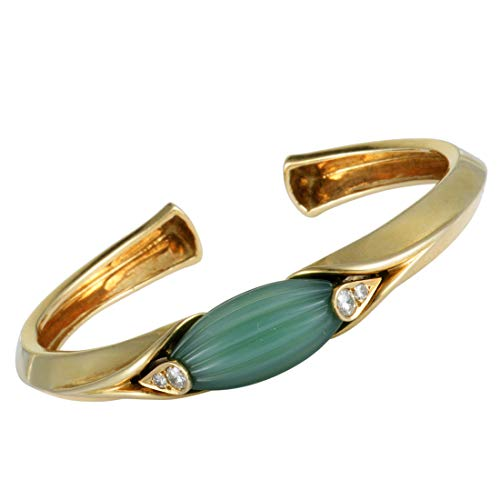 - Van Cleef & Arpels (Estate) Van Cleef & Arpels Vintage 18K Yellow Gold Diamond and Jade Bangle Bracelet