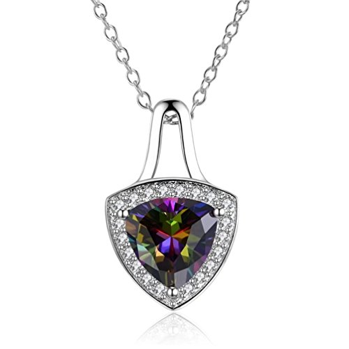 FENDINA Classic Women's Pendant Necklace with Solitaire Trillion Cut Created Mystic Rainbow Topaz & Clear CZ Stone Halo, Adjustable Chain Length 18