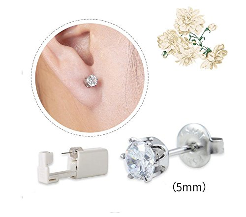 2PCS Disposable Ear Puncturing Tool Healthy Safety Asepsis Ear Navel Lips Nose Body Ring Piercing Tattoo Gun Kit with Stainless Steel Ear Studs(White) by Elandy (Image #1)