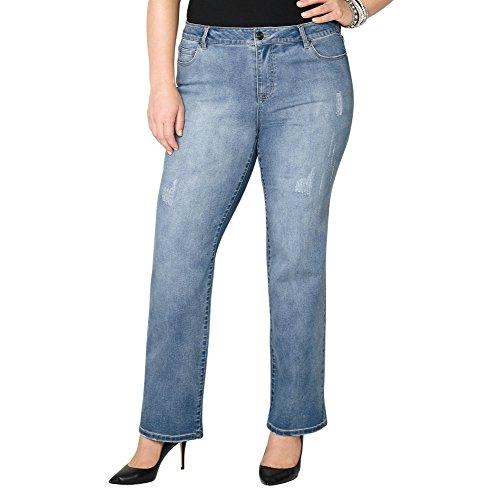 Avenue Women's Destructed Bootcut Jean in Medium Wash, 18 Medium Wash