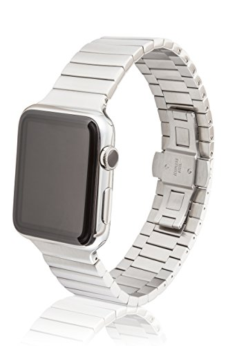 42mm JUUK Revo Premium Apple Watch band, made with Swiss quality using only the highest grade solid 316L stainless steel with a satin brushed finish and solid steel butterfly deployant buckle by JUUK