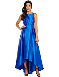 Womens High-Low Halter Mikado Gown