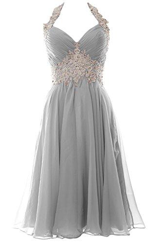 Silber V Short Dress Homecoming Halter Neck Gown Wedding Formal Prom MACloth Women wEqvPP