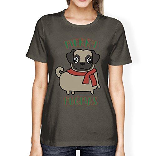 365 Femme Pug Unique Courtes Printing shirt Pugmas Manches T Taille Merry SXrvSwqRx