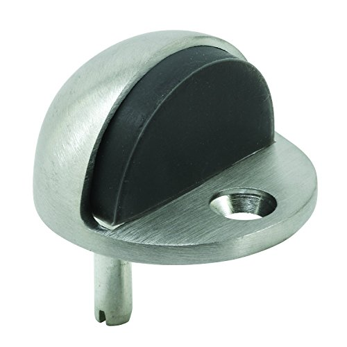 Prime-Line J 4544 Floor Mount Door Stop, Dome Type, 1 in Tall, Solid Brass with Brushed Chrome Finish, Pack of 1