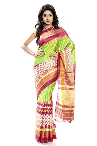 Mandakini — Indian Women's Pochampally - Handloom - Ikat Pure Silk Saree (Pink-Green ) (MK303) by Mandakini