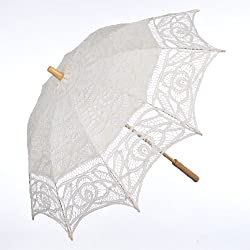 Topwedding Battenburg Lace Outdoor Wedding Parasol Bridal Shower Umbrella, Beige