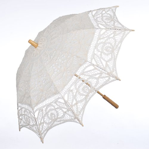 Topwedding Battenburg Lace Outdoor Wedding Parasol Bridal Shower Umbrella, Beige by Topwedding