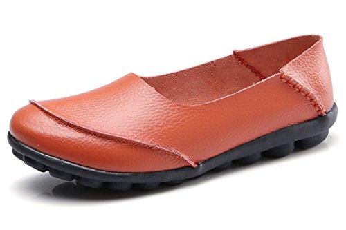 Orange Leather Footwear - KEESKY Nurse Shoes for Women Flat Loafers Slip-On Casual Leather Shoes Orange Size 9.5