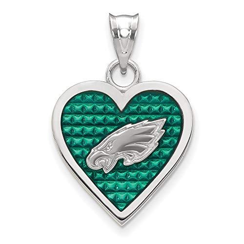 FB Jewels Solid 925 Sterling Silver Philadelphia Eagles Enameled Heart Pendant