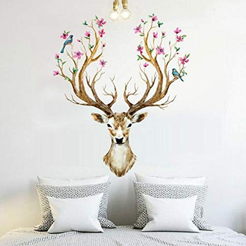 Flower Deer Wall Stickers, E-Scenery Grand Sale! Removable DIY 3D Wall Decals Mural Art Wallpaper for Room Home Nursery Wedding Party Window -