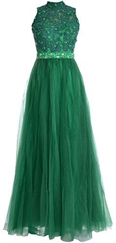 MACloth Women High Neck Lace Chiffon Long Prom Dress Formal Party Ball Gown (EU40, Morado)
