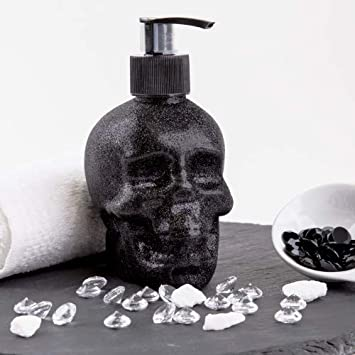 Accentra dispensador de jabón Calavera con líquido jabón–Cráneo/Calavera–Negro Chrome de Look dosificadoras, plástico, Brillante (Glitter)