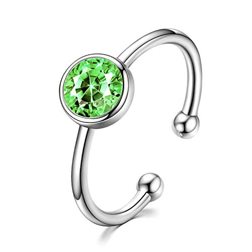 AOBOCO 925 Solid Sterling Silver Rings August Rings Peridot Light Green Adjustable Ring for Women Girls Stackable Wrap Open Ring Crystals from Swarovski (Peridot (August Birthstone))