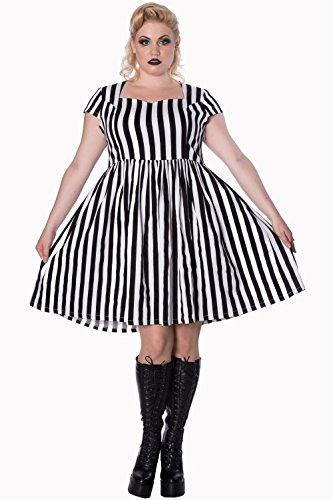 White UK Gothic Abito Righe Bianche 18 e nereGothic Alternative a Mini Banned Black 4qPdUvww