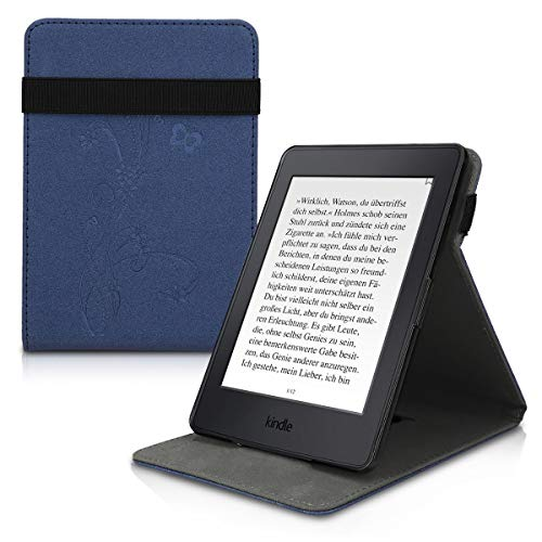 kwmobile Cover for Amazon Kindle Paperwhite - PU Leather e-Reader Case with Built-in Hand Strap and Stand - (for 2017 and Older) Dark Blue