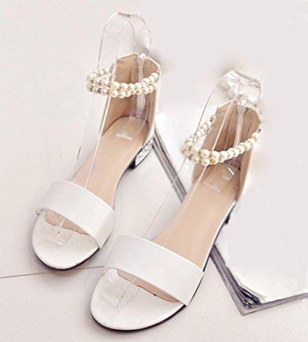palabra broche de perlas sandalias abiertas de tacón de baja después de la cremallera del bolso con sandalias planas sandalias de las mujeres White