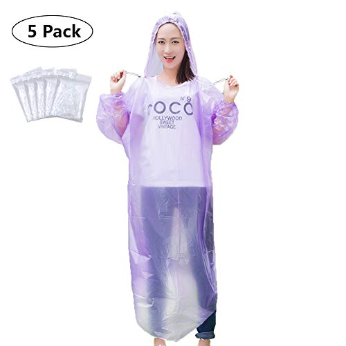 Emergency Disposable Rain Ponchos(5 Pack) - Portable Poncho with Drawstring Hood & Elastic Sleeve - 100% Waterproof Rain Coat for Family Women Men Adults Teens & Kids,One Size Fits All (Purple)