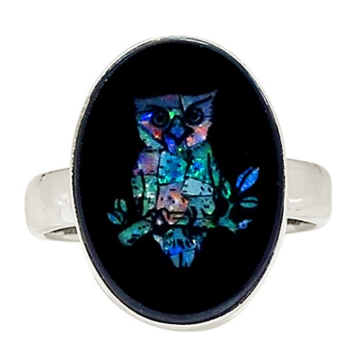 Agate Topaz Ring (Xtremegems Australian Opal In Black Onyx 925 Sterling Silver Ring Jewelry Size 7.5 18364R)