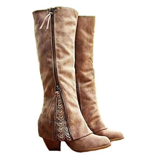 ODOKAY Winter Women Fashion Riding Boots Fold Over Design Near The Ankle with Lace Detailing at Edge Plus Size Boots