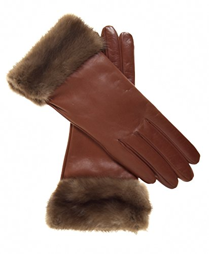 n's Italian Cashmere Lined Leather Gloves with Mink Cuff Size 8 1/2 Color Brown ()