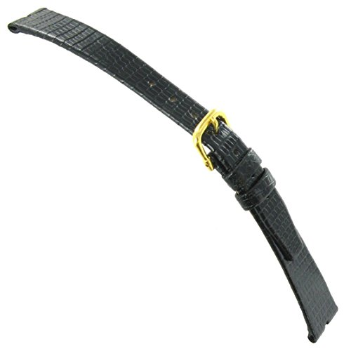 12mm Hadley-Roma Java Lizard Gucci Cut Black Unstitched Ladies Watch Band