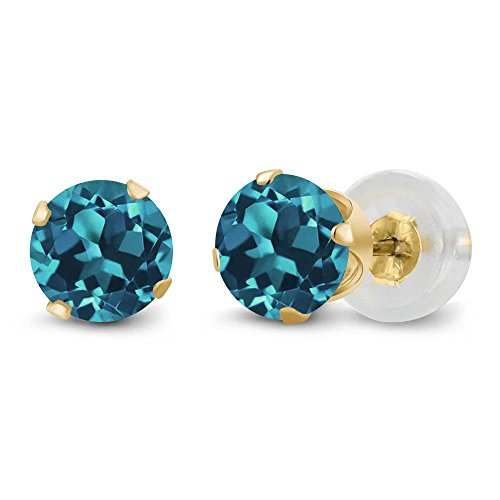 Gem Stone King 14K Yellow Gold London Blue Topaz Gemstone Birthstone 4-prong Stud Earrings (1.10 cttw, 5MM Round)