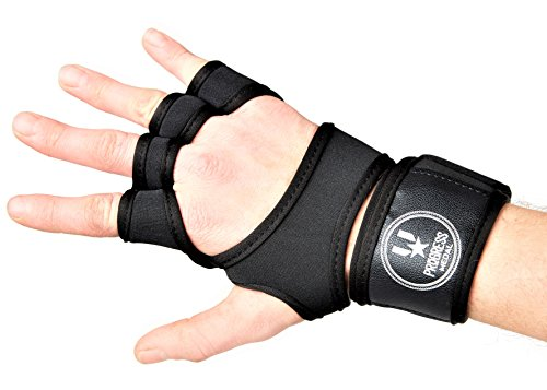 Progress Medal Workout / Weightlifting Gloves. Leather Palm Protection, Extra Grip Ventilated and Adjustable Wrist Support.Fit for Weight Lifting, Cross Training, Fitness, WOD, Gym, Suits Men/Women