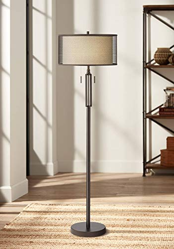 Turnbuckle Modern Industrial Floor Lamp Bronze Metal Screen and Off White Linen Double Drum Shades for Living Room Office - Franklin Iron Works