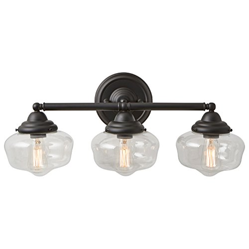 """Stone & Beam Schoolhouse 3-Light Vanity Fixture, 10""""H, With Bulb, Matte Black with Glass Shade"""