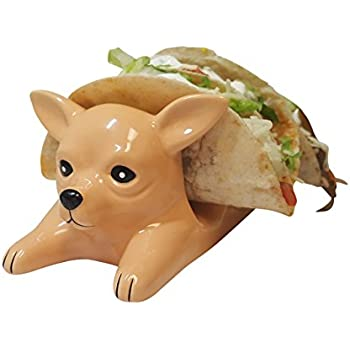 Chihuahua Taco Holder Funny, Novelty Ceramic Taco Tuesday Food Tray | Holds 3 Tacos | Soft & Hard Flour Corn Tortillas | Dishwasher Safe | Excellent Gift for Kids and Adults | HMH Elite