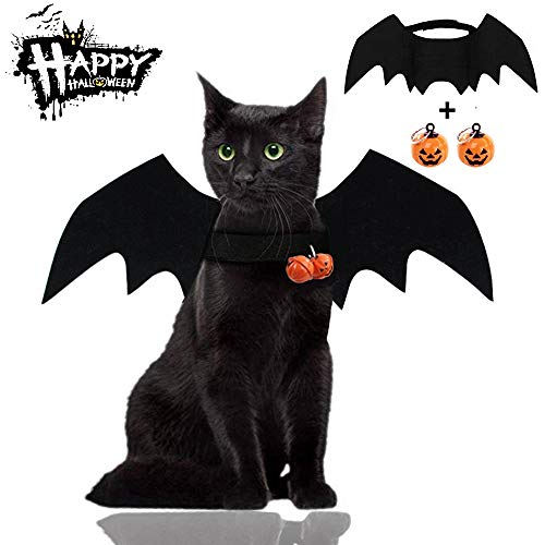 Malier Halloween Cat Costume for Cats Dogs Pet Bat Wings Cat Dog Bat Costume Wings (Bat Wings with Pumpkin