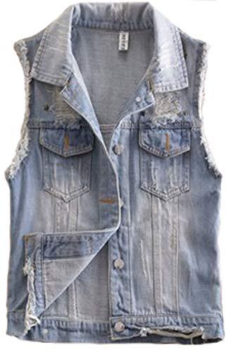 2015 New Short Type Sleeveless Denim Jacket Hole Jeans Vests (Large, Light Blue Copper Star)