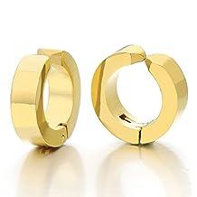 Pair Stainless Steel Gold Huggie Hinged Hoop Earrings Non-Piercing Clip On Earrings Unisex Men Women Boys